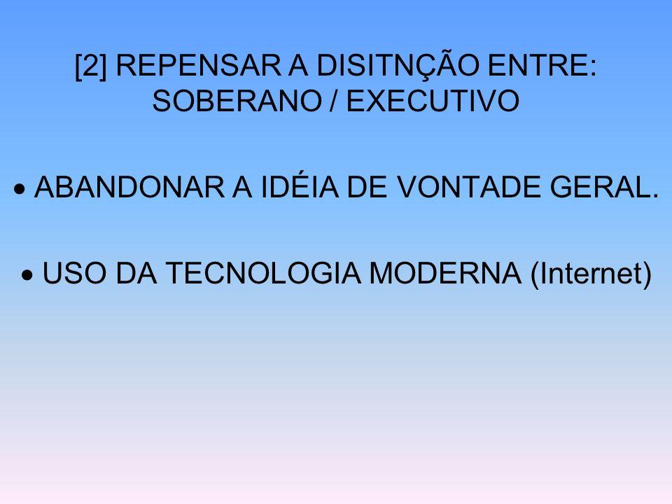 [2] REPENSAR A DISITNÇÃO ENTRE: SOBERANO / EXECUTIVO